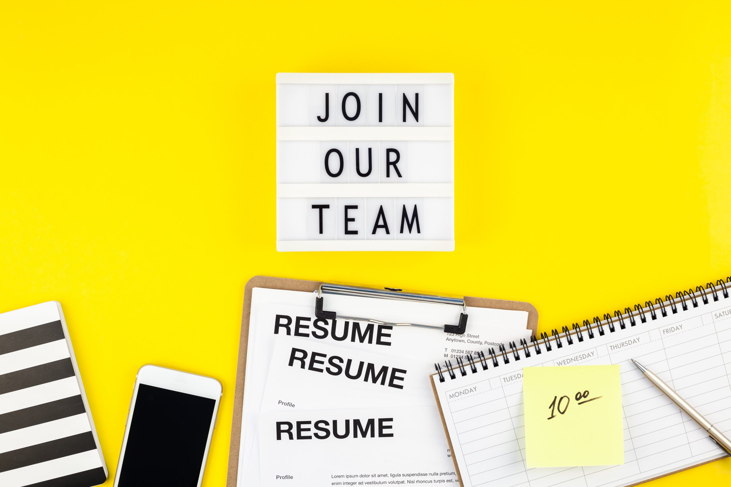 Join our team flat lay on yellow background image